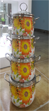 Full Flower Design Enamel Casseroles