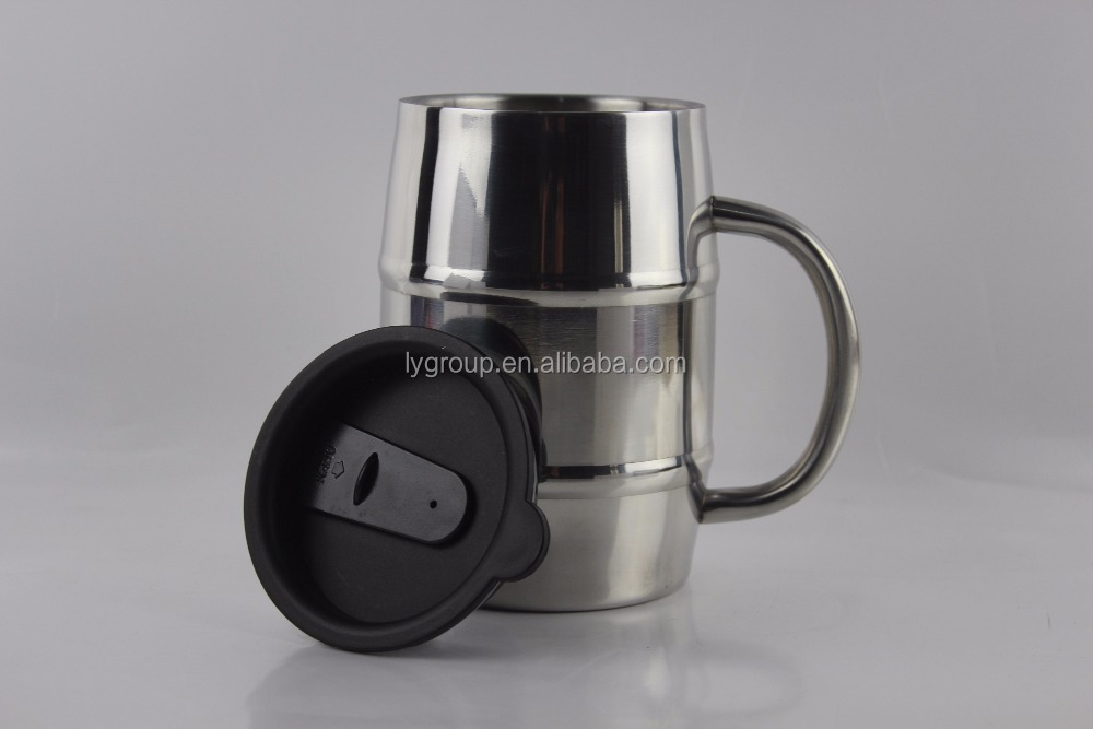 High Quality Wholesale 500ml/17OZ double wall insulated stainless steel barrael shaped beer coffee mug with lid and handle