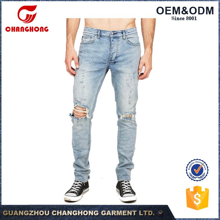 OEM Men Distressed Narrow Jeans Pants In A Mid Rise With Tapered Leg Tight ankle