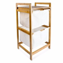 2 tier bamboo laundry basket Laundry Storage Bin