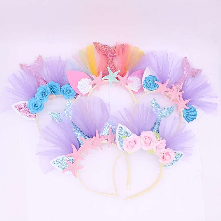 Wholesale Mermaid headband Beach Theme Party Hairbands Sparkling Kids Festive Gifts Hairband Festive <strong>Hair</strong> <strong>Accessories</strong>