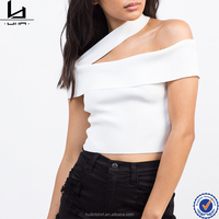 Sex night clothing one strap shoulder t-shirt tight fit wholesale plain white crop top