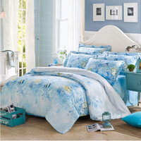 Fashion Home textile ,Light Blue Ocean Fish Printed 4pcs cutton Bedding Sets,(Pillow case+Bed sheet+Duvet cover Set)