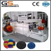 Two stage plastic granules extruder for textiled bags masterbatch