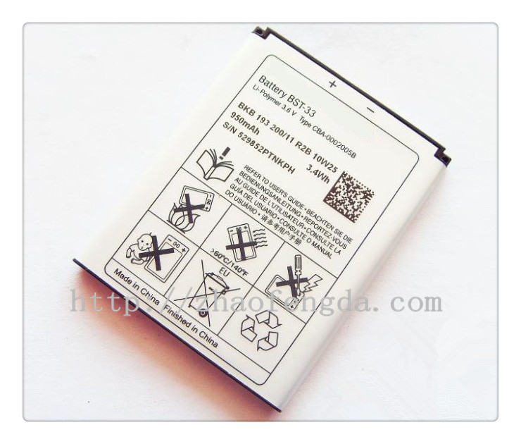 Wholesale Cellphone Battery BST-33 For Sonyericsson k800 3.7v 1000mah Rechargeable Batteries
