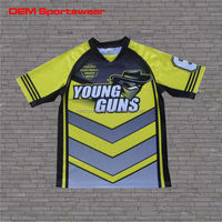 Sublimation striped short sleeve custom rugby shirts