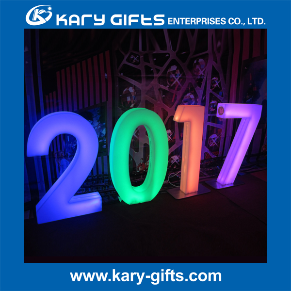 PE plastic advertising display led number /illuminated letter /light up table led furniture