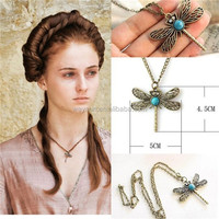 game of thrones necklace song of ice and fire Sansa Stark vintage dragonfly pendant for women DHL Freeshipping