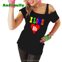Hotsell 1980s Ladies Tshirt I Love The 80's Vintage T-Shirt Fancy Dress Top Retro Hen Party costume