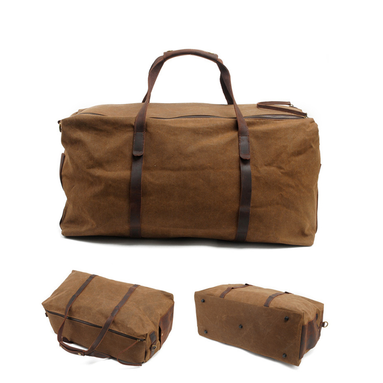 Good cotton 16oz waxed canvas crazy horse travel leather duffel bag