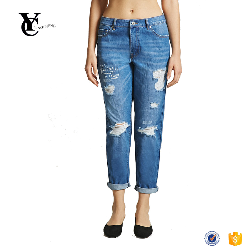 Competitive price excellent quality fashionable free spirit painted denim jeans printed boyfriend jeans for women
