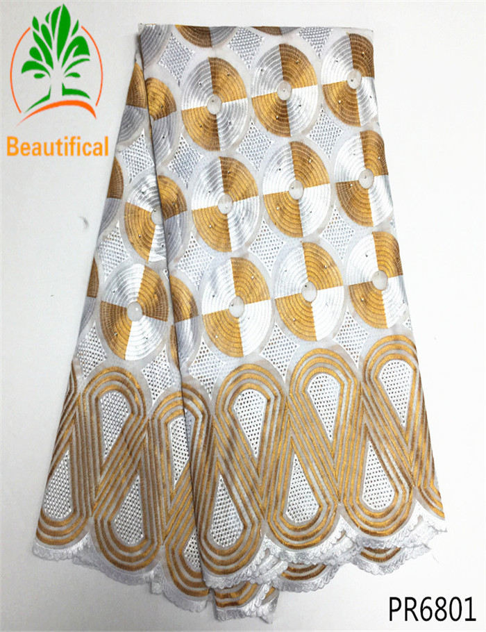 Gold and white embroidery African Swiss Voile Lace Fabric High Quality Stones Swiss Voile Lace Africa dry Cotton Fabric PR68