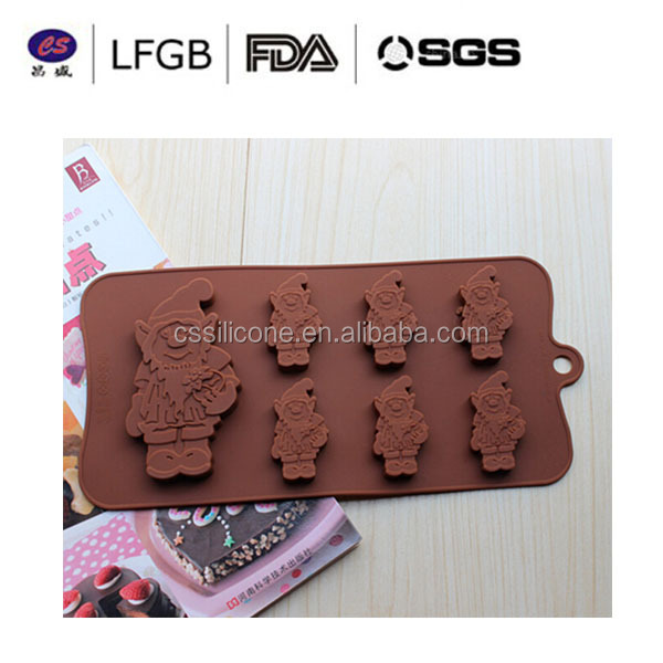 Newest design funny Santa shape healthy silicone cake mold/Christmas silicone chocolate mold