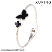 51525-xuping high quality fashion steel black beautiful butterfly simple designs bangles
