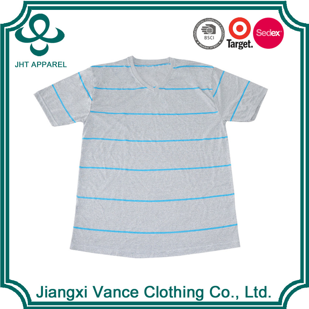 70% polyester 30% cotton v-neck flat knit stripe boys tshirt two tone wholesale striped printed t-shirt
