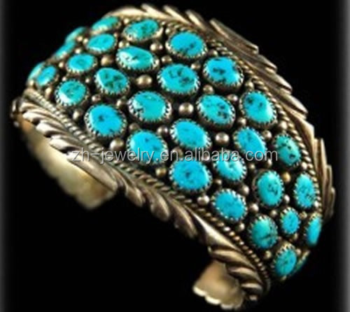 many small turquoise stones inlay Large antique silver cuff bangle