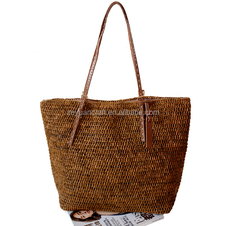2016 Fashion madam natural raffia <strong>bag</strong>