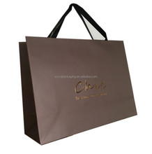 Recycled customized glossy lamination paper bag with ribbon for industrial shopping use