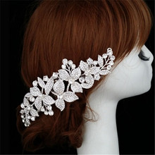 Bridal Jewelry hair ornament customized crystal floral accessory rhinestone bridal alloy flower hair combs