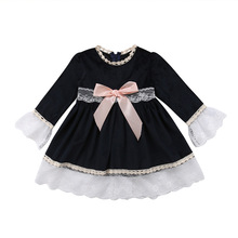 <strong>Girl's</strong> <strong>Dresses</strong> Round Neck Lace Edge Stitching Long Sleeve Dense Velvet Butterfly Knot Princess Skirt