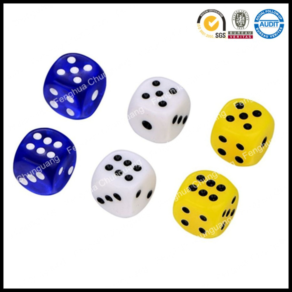 Promotional wholesale high quality acrylic wood plastic printed logo square round corner sexy game playing dice set in Opp bag
