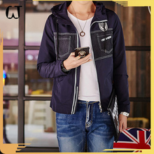F6602#2017 Latest Fashion Men Slim Fit Long Sleeve Patchwork Embroidered Joint Cotton Leisure Jacket Coat with Twill Fabric