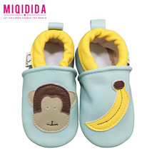 Breathable black blue monkey decoration baby shoes soft sole happy moccasins baby shoes