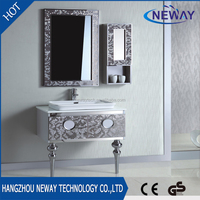 New design stainless steel high end bathroom vanity China with side cabinet