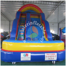 2016 Aier Blue wave Large Amusement Park jumping Inflatable water Slide for European market
