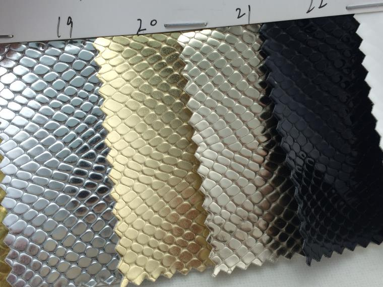 fashion design reflecting pu leather with snakeskin grain for shoes upholstery high quality synthetic mirror leather