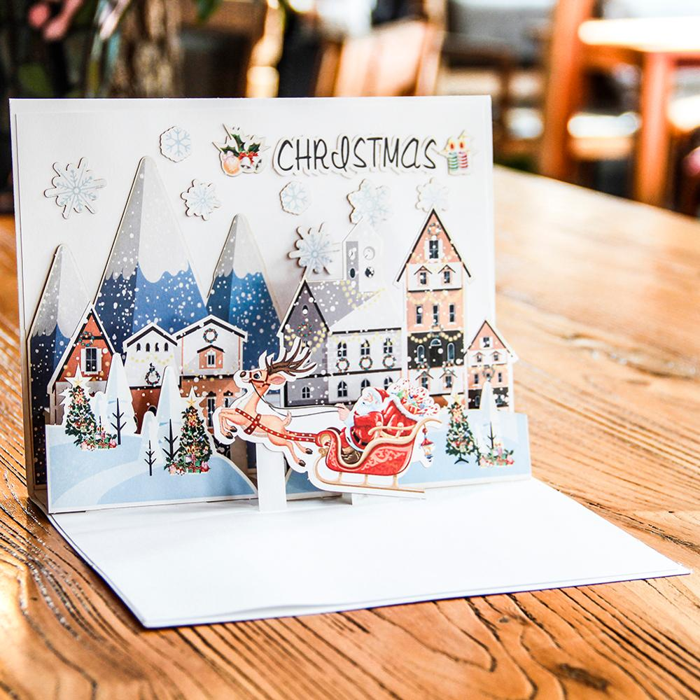 customise handmade paper <strong>craft</strong> 3d pop up christmas greeting cards pop up for christmas day