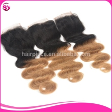 Ombre Brazilian Body Wave Top Closure Invisible Part Full Lace Human Hair Closure