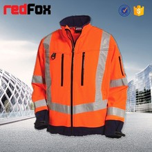 breathable safety reflective orange fleece jacket