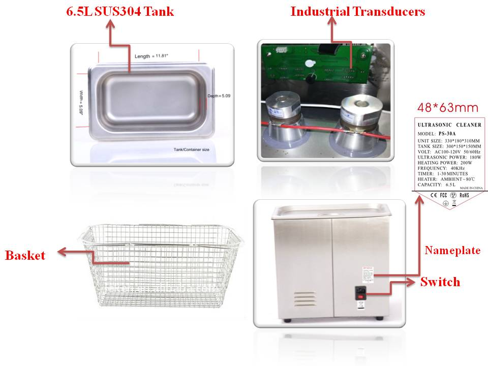 Stainless steel SUS304 ultrasonic glasses cleaner PS-30A with heater