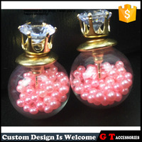 New Design Korea Fashion Double Stud Earrings Woman, Crown Earrings With Pearl Filled