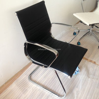 Elegent Ergonomic Guest Reception Meeting Room Modern Leather Metal Office Chair Without Wheels