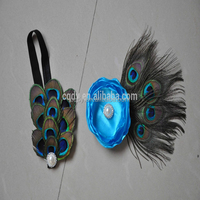 2014 new style lovely infant baby peacock feather headbands and back silk flower /fairy accessories for newborn baby