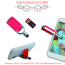 New design USB Drive with phone holder function and screen touch pen, free your hands from phone TV watching
