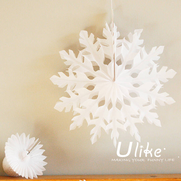native christmas decor Xmas White Tissue Paper Snowflake Fans christmas decoration movable christmas decorations