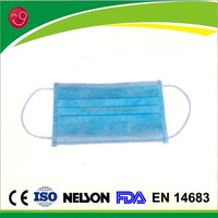 Blue disposable 3 ply food processing face mask with earloop