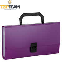 Colorful Plastic Expandable File Folder, Organ Style PP Expanding File Case With Handle
