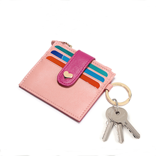 3 slots pink color pu leather card holder