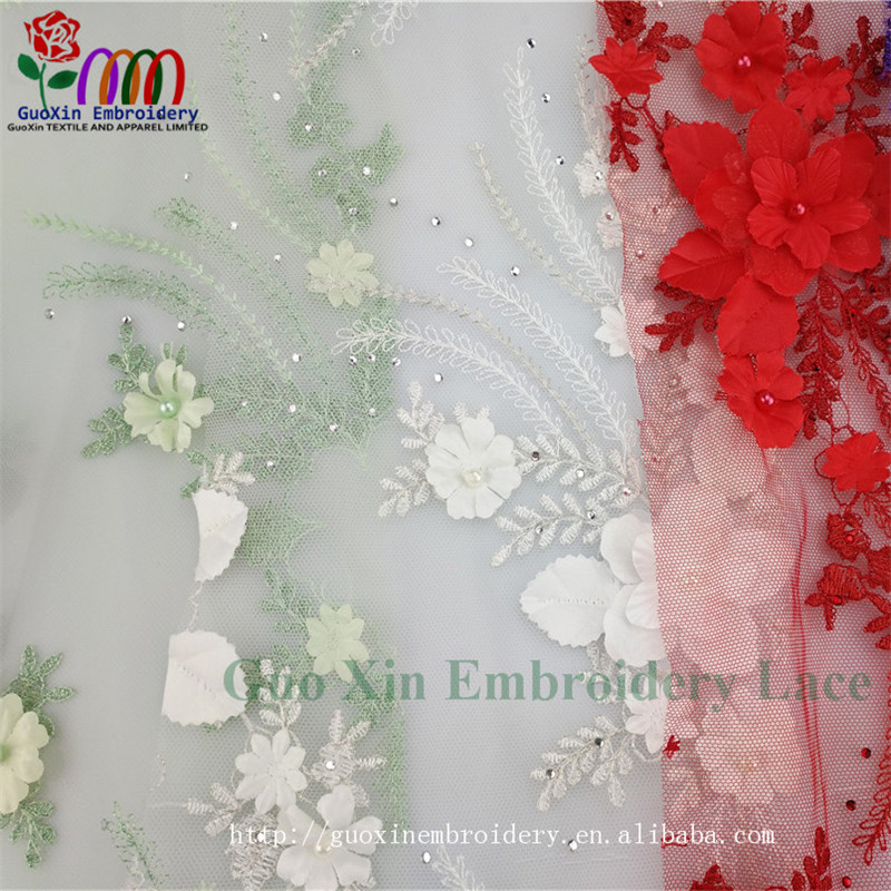 Hot Selling Colorful Super Quality 3d Lace Fabric Flower