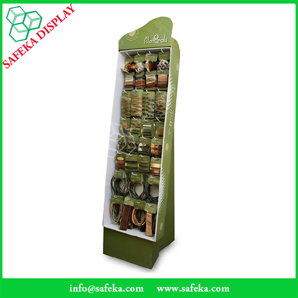 Supermarket retail floor display stand pop pegboard cardboard display shelf for headdress ornaments