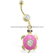 Sexy cheap wholesale clear crystal turtle shape gold chain dangle belly ring navel piercing body jewelry