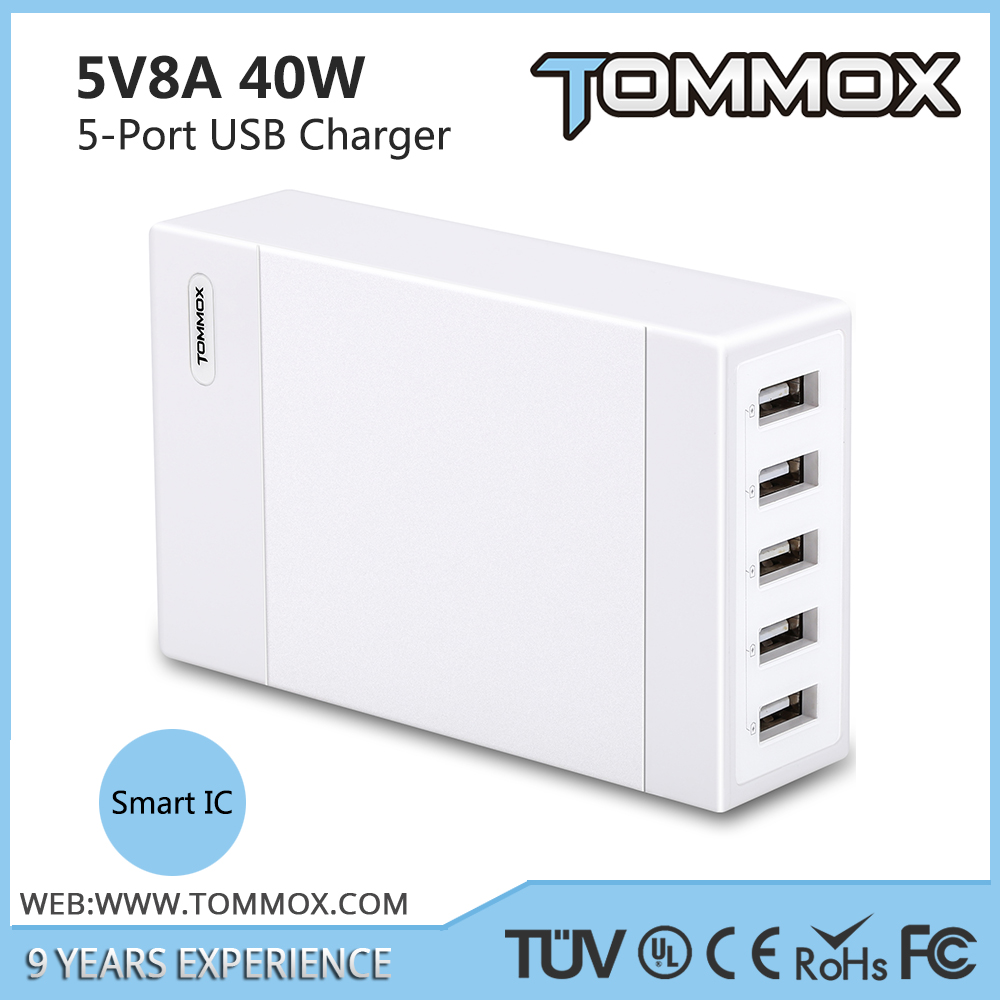 Universal 5 Multi-Port Rapid Smart USB Wall Travel Charger 40W for Cell Phone for tablets
