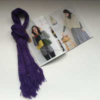 Purple Violet Knitted Scarf with sequin