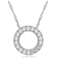 Round Pendant Hoop Necklace with Crystal Zircon beautiful gifts hot selling