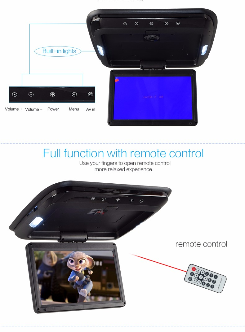 12v 1080p 9 inch roof mount car media player with tft lcd monitor