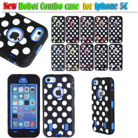 Hybrid Polka Dot Silicone phone case For iphone 5C robot combo case